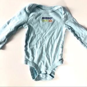 "Babies r us ""Mommy loves me"" onesie"